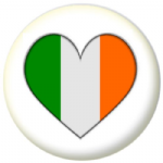Ireland Country Flag Heart 25mm Button Badge